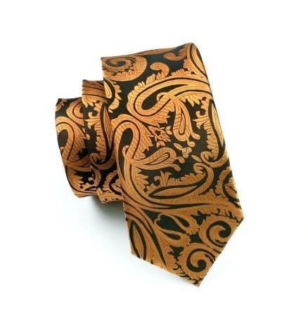Pánska sada - kravata + manžety + vreckovka so zlatým vzorom
