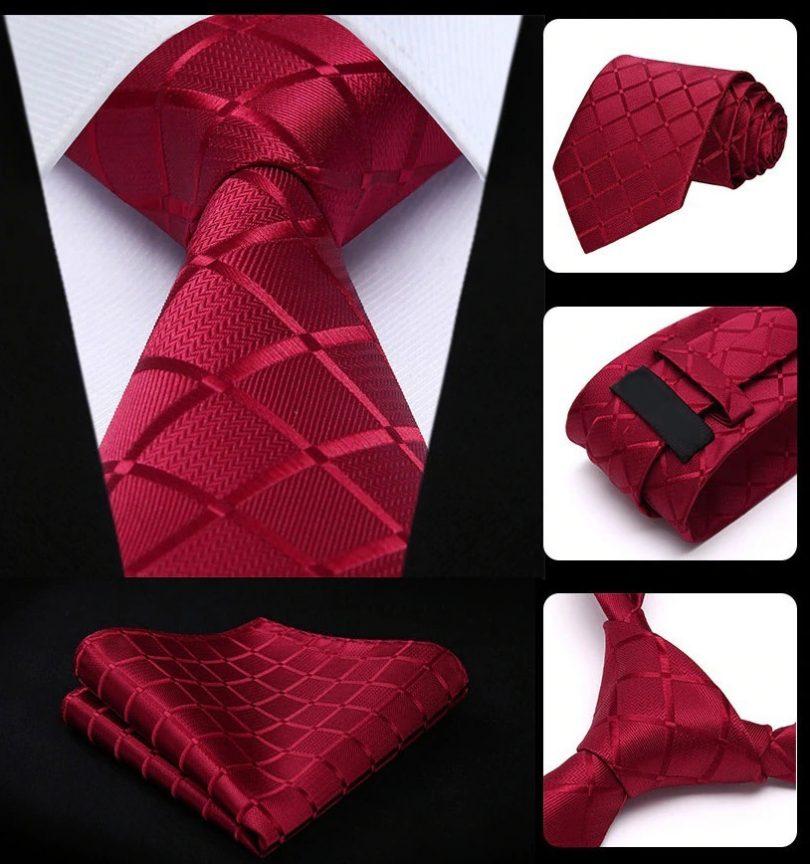 Hodvábna kravata a vreckovka - sada s červeným vzorom