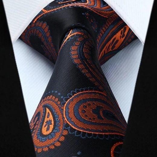 Hodvábna kravata a vreckovka - sada s čierno-pomarančovým vzorom