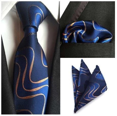 Hodvábna kravata a vreckovka - sada s modro-zlatým motívom