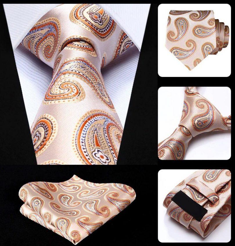 Hodvábna kravata a vreckovka - sada s pomarančovým vzorom