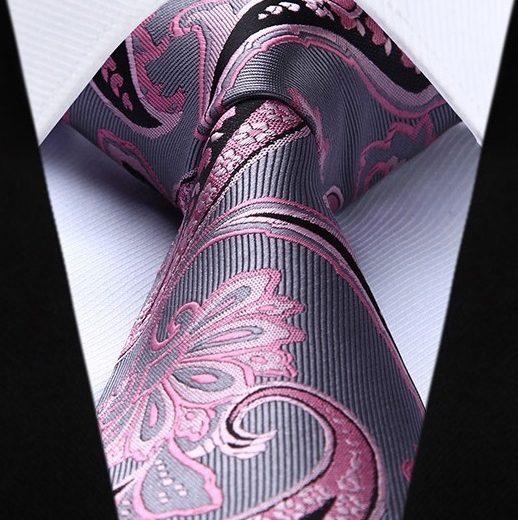 Hodvábna kravata a vreckovka - sada so sivo-ružovým vzorom