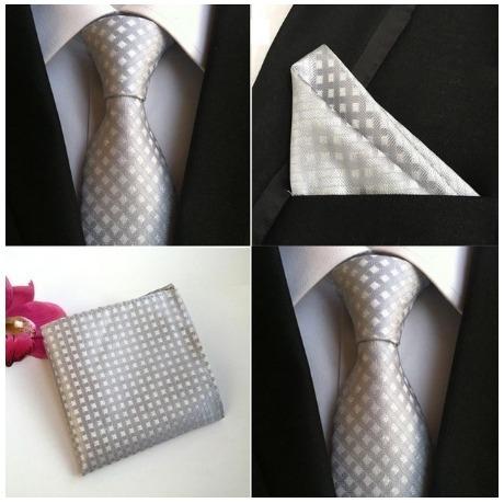 Hodvábna kravata a vreckovka - sada so strieborným vozorom