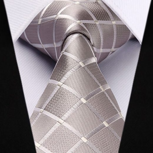 Hodvábna kravata a vreckovka - sada so strieborným vzorom