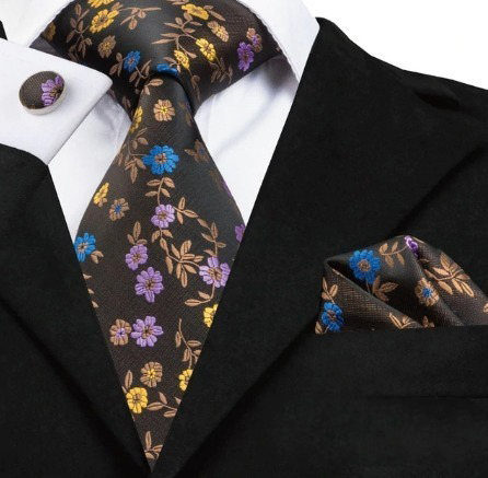 Kravatový set - kravata + manžety + vreckovka s kvietkami