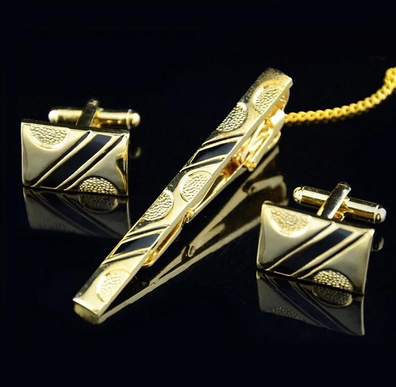 Luxusný set - kravatová spona a gombíky so zlato-čiernym vzorom