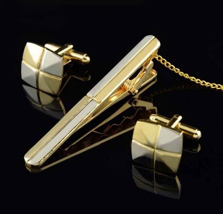 Luxusný set - kravatová spona a gombíky - zlato-strieborný kríž