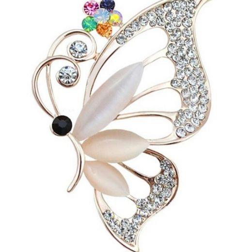 Prepracovaná brošňa motýľ s kryštálmi a opálmi