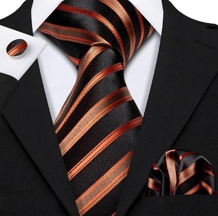 Kravatová sada - kravata + manžety + vreckovka s luxusným medeným vzorom