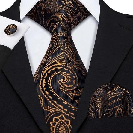 Kravatová sada - kravata + manžety + vreckovka s luxusným vzorom