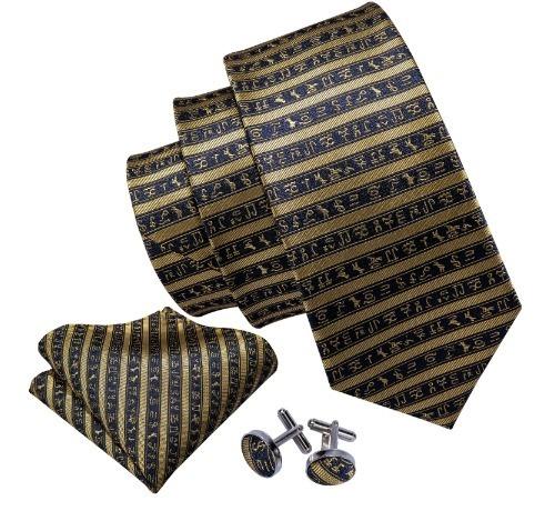 Kravatová sada - kravata + manžety + vreckovka so zlatými hieroglyflmi