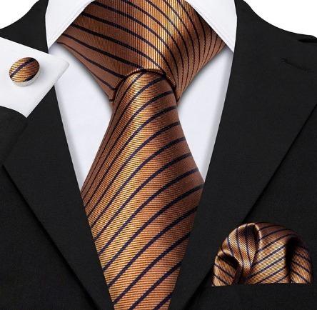 Kravatová sada - kravata + manžety + vreckovka v medenej farbe s pásikmi