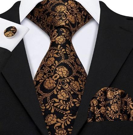 Pánska kravatová sada - kravata + manžety + vreckovka s medeným vzorom