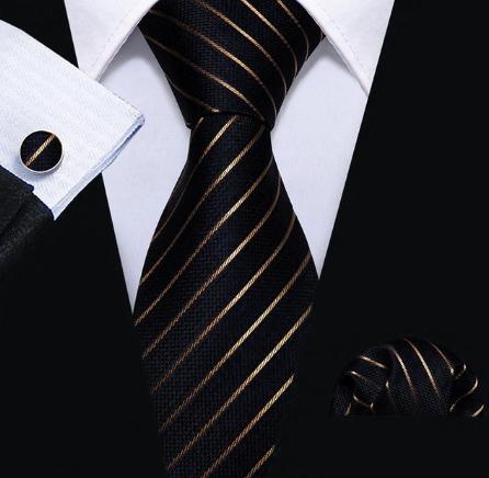 Pánska kravatová sada - kravata + manžety + vreckovka s medenými pásikmi