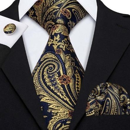 Pánska kravatová sada - kravata + manžety + vreckovka v modro-zlatej farbe