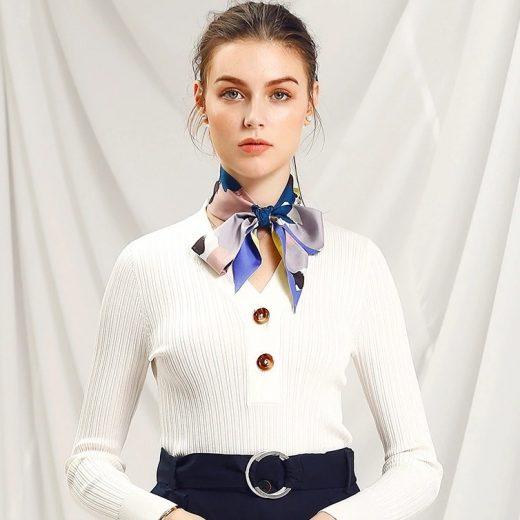 Malý šál zo 100% hodvábu s luxusným vzorom ABSTRACT - formát 116x6 cm