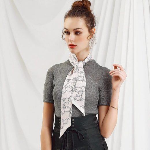 Malý šál zo 100% hodvábu s luxusným vzorom THORNS - formát 116x6 cm