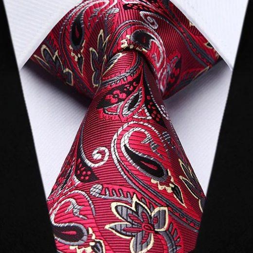 Hodvábna kravata a vreckovka - sada s červeným motívom