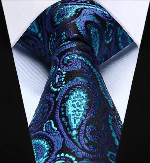Hodvábna kravata a vreckovka - sada s modrým vzorom