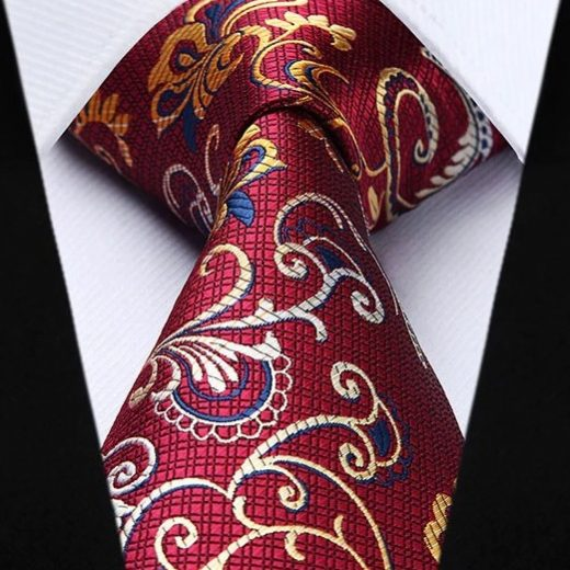 Kravatová sada - kravata a vreckovka - sada s bordovým vzorom