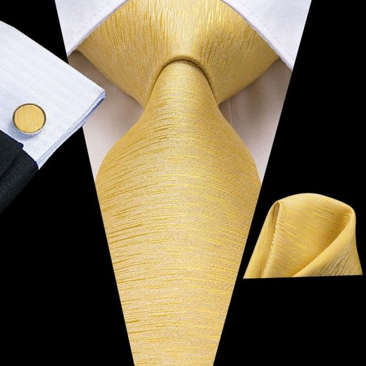 Pánska kravatová sada - kravata + manžety + vreckovka v zlatej štruktúre